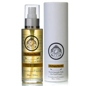 A spray bottle of Olio Regina Ayurvedic Anti Dandruff Hair Oil available to buy from Ovviovita